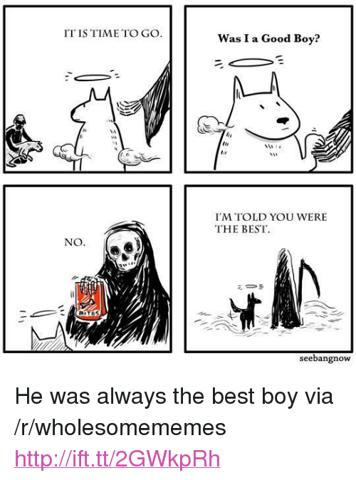 "Best, Good, and Http: IT IS TIME TO GO  Was I a Good Boy?  I'M TOLD YOU WERE  THE BEST  NO  seebangnow <p>He was always the best boy via /r/wholesomememes <a href=""http://ift.tt/2GWkpRh"">http://ift.tt/2GWkpRh</a></p>"