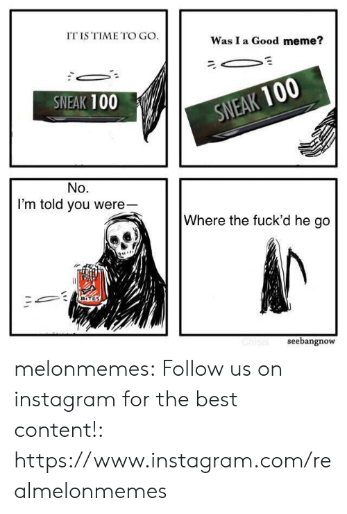 Instagram, Meme, and Tumblr: IT IS TIME TO GO.  Was I a Good meme?  SNEAK 100  SNEAK 100  No.  I'm told you were-  Where the fuck'd he go  BITES  Chisal  seebangnow melonmemes:  Follow us on instagram for the best content!: https://www.instagram.com/realmelonmemes