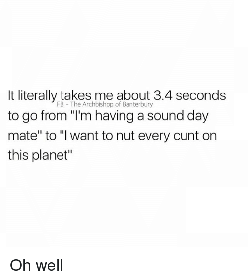 """Cunt, British, and Oh Well: It literally takes me about 3.4 seconds  to go from """"'m having a sound day  mate"""" to """"I want to nut every cunt on  this planet""""  FB The Archbishop of Banterbury Oh well"""
