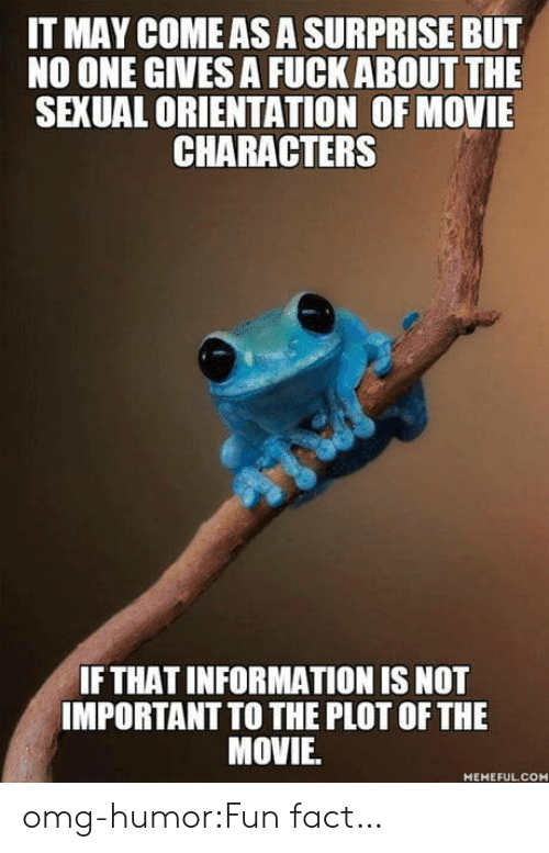 Omg, Tumblr, and Blog: IT MAY COME AS A SURPRISE BUT  NO ONE GIVES A FUCK ABOUT THE  SEXUAL ORIENTATION OF MOVIE  CHARACTERS  IF THAT INFORMATION IS NOT  IMPORTANT TO THE PLOT OF THE  MOVIE  MEMEFULCOM omg-humor:Fun fact…