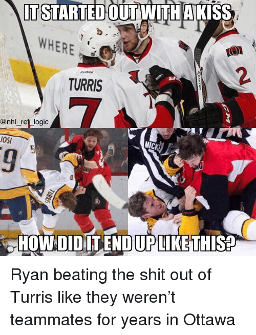 Logic, Memes, and National Hockey League (NHL): IT STARTEDOUT WITH AKIS  WHERE  2.  TURRIS  @nhl _reft logic  MICK  OSI  HOWDIDILENDIUPLIKE THIS Ryan beating the shit out of Turris like they weren't teammates for years in Ottawa