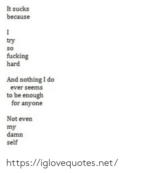 Fucking, Net, and For: It sucks  because  try  so  fucking  hard  And nothing I do  ever seems  to be enough  for anyone  Not even  my  damn  self https://iglovequotes.net/