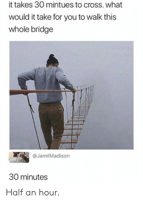 Dank, Cross, and 🤖: it takes 30 mintues to cross. what  would it take for you to walk this  whole bridge  @JamilMadison  30 minutes Half an hour.