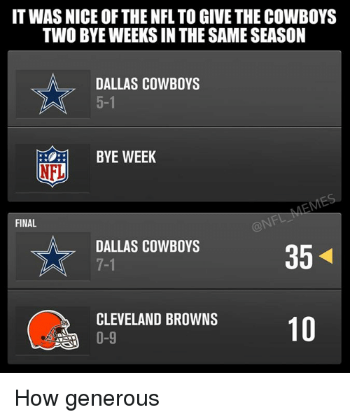 Bye Week: IT WAS NICE OF THE NFL TO GIVE THE COWBOYS  TWO BYEWEEKSIN THE SAME SEASON  DALLAS COWBOYS  BYE WEEK  NFL  FINAL  DALLAS COWBOYS  35  CLEVELAND BROWNS  10  0-9 How generous