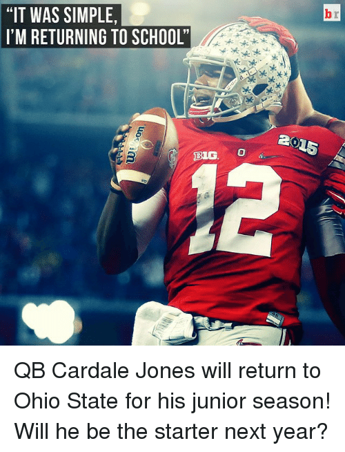 """big o: """"IT WAS SIMPLE,  I'M RETURNING TO SCHOOL'  BIG O QB Cardale Jones will return to Ohio State for his junior season! Will he be the starter next year?"""
