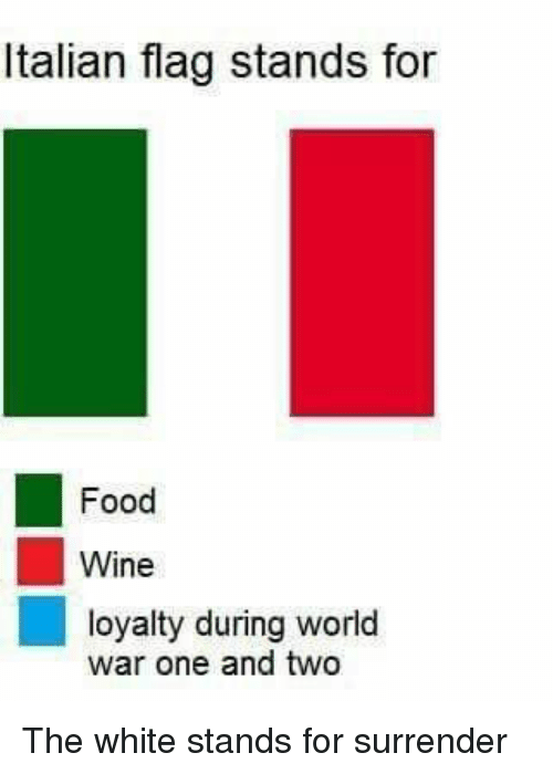 Food, Wine, and White: Italian flag stands for  Food  Wine  loyalty during world  war one and two The white stands for surrender
