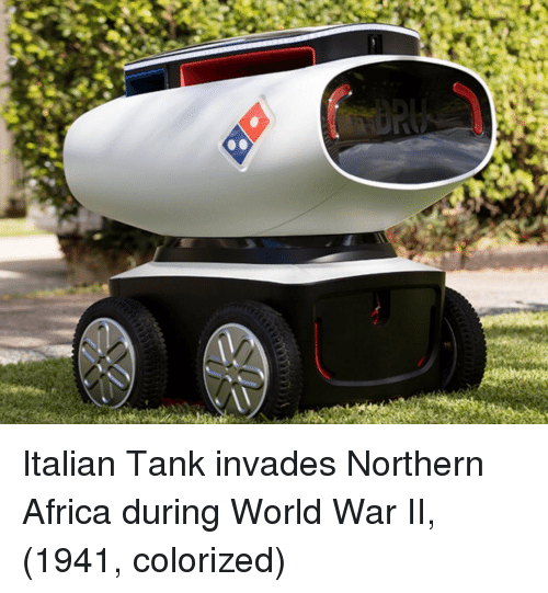 Africa, World, and World War II: Italian Tank invades Northern Africa during World War II, (1941, colorized)