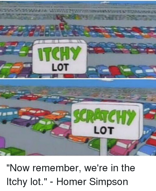 "Homer Simpson: ITCHY  LOT  LOT ""Now remember, we're in the Itchy lot."" - Homer Simpson"