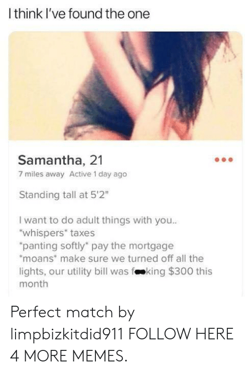 """utility: Ithink I've found the one  Samantha, 21  7 miles away Active 1 day ago  Standing tall at 5'2""""  I want to do adult things with you..  """"whispers* taxes  """"panting softly pay the mortgage  moans make sure we turned off all the  lights, our utility bill was fking $300 this  month Perfect match by limpbizkitdid911 FOLLOW HERE 4 MORE MEMES."""