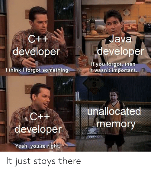 Java: itriG  Java  C++  developer  developer  if you forgot, then  it wasn't important  I think I forgot something  5  unallocated  C++  memory  developer  Yeah, you're right It just stays there