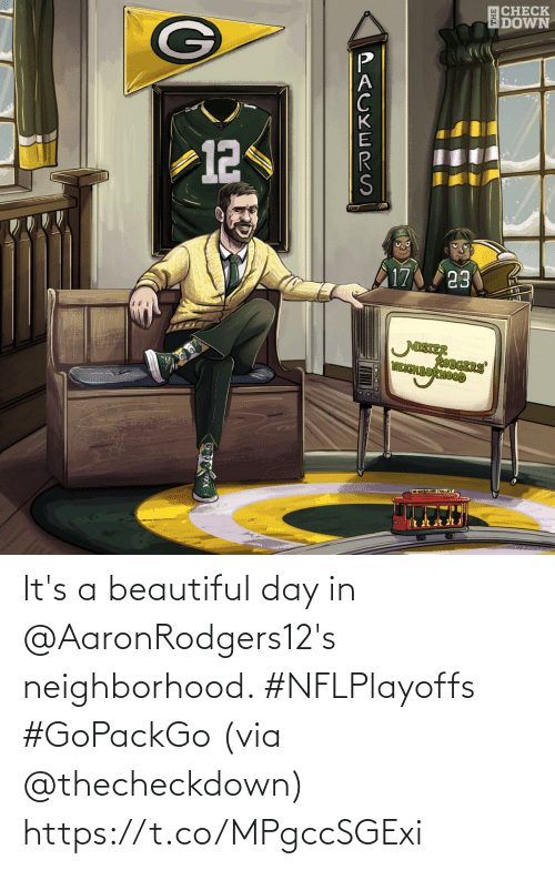 day: It's a beautiful day in @AaronRodgers12's neighborhood. #NFLPlayoffs #GoPackGo  (via @thecheckdown) https://t.co/MPgccSGExi