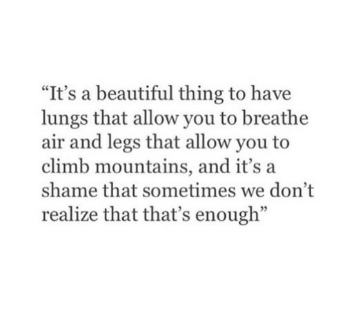 "A Shame: ""It's a beautiful thing to have  lungs that allow you to breathe  air and legs that allow you to  climb mountains, and it's a  shame that sometimes we don't  realize that that's enough"""
