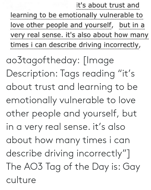 "trust: it's about trust and  learning to be emotionally vulnerable to  love other people and yourself, but in a  very real sense. it's also about how many  times i can describe driving incorrectly, ao3tagoftheday:  [Image Description: Tags reading ""it's about trust and learning to be emotionally vulnerable to love other people and yourself, but in a very real sense. it's also about how many times i can describe driving incorrectly""]  The AO3 Tag of the Day is: Gay culture"