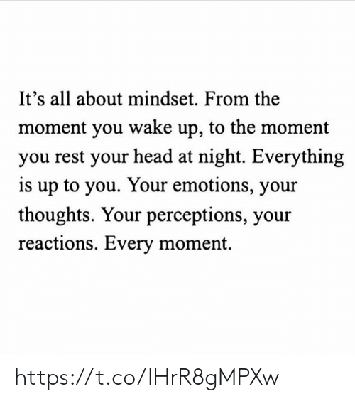 reactions: It's all about mindset. From the  moment you wake up, to the moment  you rest your head at night. Everything  is up to you. Your emotions, your  thoughts. Your perceptions, your  reactions. Every moment https://t.co/lHrR8gMPXw