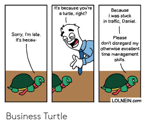 Excellent: It's because you're  a turtle, right?  Because  I was stuck  in traffic, Daniel.  Sorry, I'm late.  It's becau-  Please  don't disregard my  otherwise excellent  time management  skills.  LOLNEIN.com Business Turtle