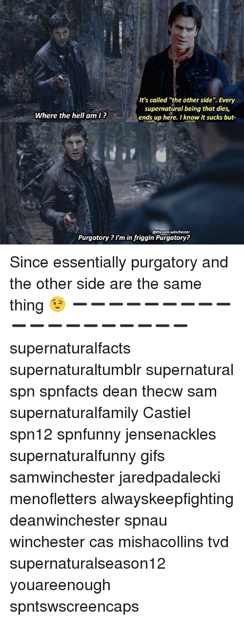 "and the others: It's called ""the other side"". Every  supernatural being that dies,  ends up here. I know it sucks but-  Where the hell aml?  @thesam.winchester  Purgatory ? I'm in friggin Purgatory? Since essentially purgatory and the other side are the same thing 😉 ➖➖➖➖➖➖➖➖➖➖➖➖➖➖➖➖➖➖➖ supernaturalfacts supernaturaltumblr supernatural spn spnfacts dean thecw sam supernaturalfamily Castiel spn12 spnfunny jensenackles supernaturalfunny gifs samwinchester jaredpadalecki menofletters alwayskeepfighting deanwinchester spnau winchester cas mishacollins tvd supernaturalseason12 youareenough spntswscreencaps"