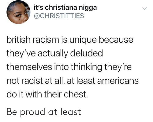 Not Racist: it's christiana nigga  @CHRISTITTIES  british racism is unique because  they've actually deluded  themselves into thinking they're  not racist at all. at least americans  do it with their chest. Be proud at least