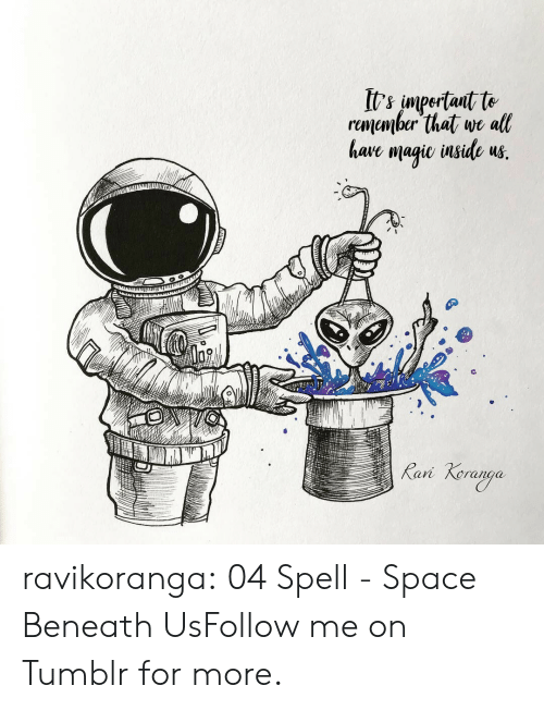 episode 1: It's impertait te  rumember that we all  have magie inside us.  Rani  Keraoga ravikoranga:  04 Spell - Space Beneath UsFollow me on Tumblr for more.
