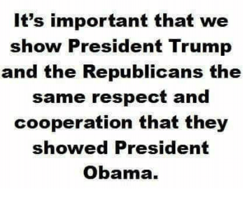 cooperation: It's important that we  show President Trump  and the Republicans the  same respect and  cooperation that they  showed President  Obama.