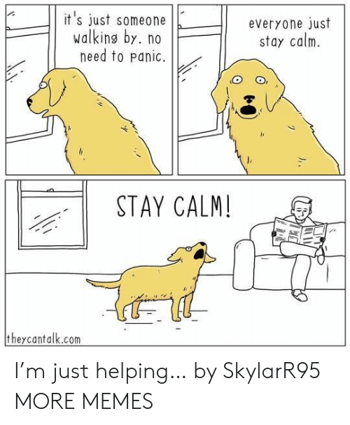 M Just: it's just someone  walking by. no  need to panic.  everyone just  stay calm  STAY CALM!  theycantalk.com I'm just helping… by SkylarR95 MORE MEMES