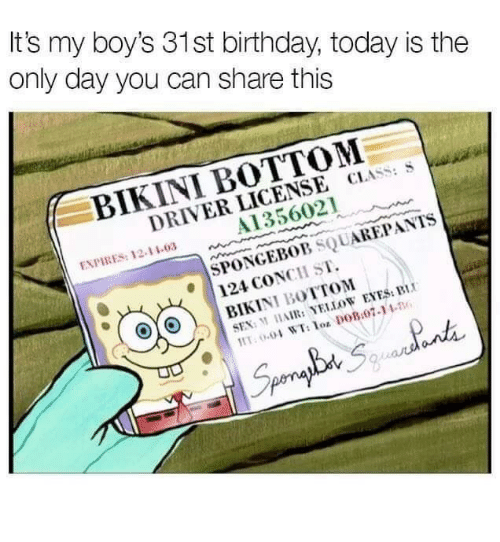 Birthday, Sex, and Bikini Bottom: It's my boy's 31st birthday, today is the  only day you can share this  BIKINI BOTTOM  DRIVER LICENSE CLASS: S  A1356021  ENPIRES: 12-11-03  SPONEBOB SQUAREPANTS  124 CONCH ST.  SEX: M HAIR: YELLOW EYES: BI  Lot