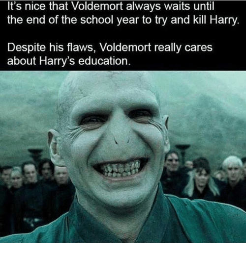 School, Nice, and Voldemort: It's nice that Voldemort always waits until  the end of the school year to try and kill Harry  Despite his flaws, Voldemort really cares  about Harry's education.