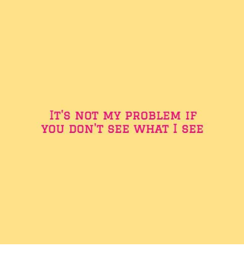 You, What, and Problem: IT'S NOT MY PROBLEM IF  YOU DON'T SEE WHAT I SEE