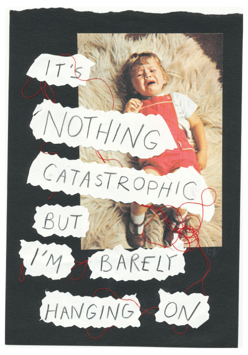 Barely: IT'S  NOTHING  CATASTROPHIC  BUT  I'M  BARELY  ON  HANGING