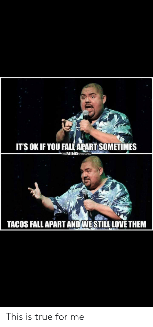 tacos: IT'S OK IF YOU FALL APART SOMETIMES  THE MINDUNLEASHED  TACOS FALL APART AND WESTILLLOVE THEM This is true for me