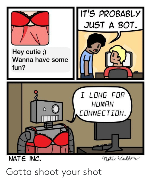 Fun I: IT'S PROBABLY  JUST A BOT.  Hey cutie ;)  Wanna have some  fun?  I LONG FOR  HUMAN  CONNECTION.  NATE INC. Gotta shoot your shot
