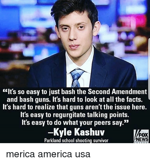 """America, Facts, and Guns: """"Its so easy to just bash the Second Amendment  and bash guns. It's hard to look at all the facts.  It's hard to realize that guns aren't the issue here.  It's easy to regurgitate talking points.  It's easy to do what your peers say.""""  -Kyle Kashuv  Parkland school shooting survivor  FOX  NEWS merica america usa"""