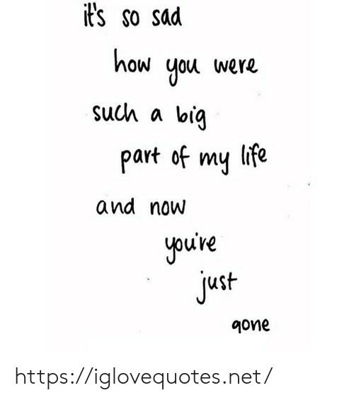 Life, Sad, and How: it's so sad  how you were  such a big  part of my life  and now  youive  just  gone https://iglovequotes.net/