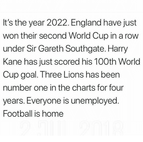 kane: It's the year 2022. England have just  won their second World Cup in a row  under Sir Gareth Southgate. Harry  Kane has just scored his 100th World  Cup goal. Three Lions has been  number one in the charts for four  years. Everyone is unemployed  Football is home