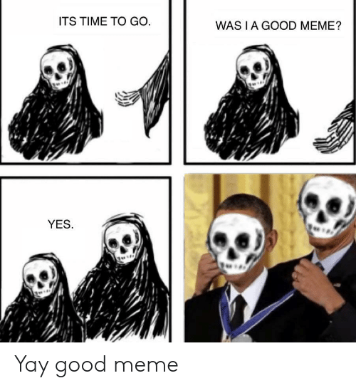Good Meme: ITS TIME TO GO  WAS I A GOOD MEME?  YES. Yay good meme