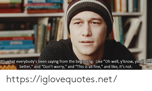 "Oh Well, Been, and Net: It's what everybody's been saying from the beginning. Like ""Oh well, y'know, youll feel  better,"" and ""Don't worry,"" and ""This is all fine,"" and like, it's not. https://iglovequotes.net/"