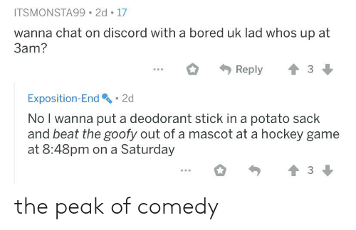 exposition: ITSMONSTA99 • 2d • 17  wanna chat on discord with a bored uk lad whos up at  3am?  Reply  Exposition-End • 2d  No I wanna put a deodorant stick in a potato sack  and beat the goofy out of a mascot at a hockey game  at 8:48pm on a Saturday the peak of comedy