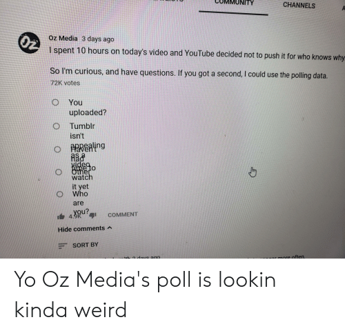Tumblr, Weird, and Yo: ITY  CHANNELS  Oz  Oz Media 3 days ago  I spent 10 hours on today's video and YouTube decided not to push it for who knows why  So I'm curious, and have questions. If you got a second, I could use the polling data.  72K votes  O You  uploaded?  O Tumblr  isn't  PRRealing  videa  watch  it yet  Who  are  COMMENT  Ou?  Hide comments  SORT BY  onr more often. Yo Oz Media's poll is lookin kinda weird