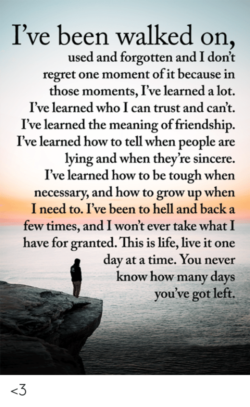 Life, Memes, and Regret: I've been walked on,  used and forgotten and I don't  regret one moment of it because in  those moments, I've learned a lot.  I've learned who I can trust and can't.  learned the meaning of friendship  I've learned how to tell when people are  lying and when they're sincere  I've learned how to be tough when  necessary, and how to grow up when  I need to. I've been to hell and back a  few times, and I won't ever take what I  have for granted. This is life, live it one  day at a time. You never  know how many days  you've got left. <3