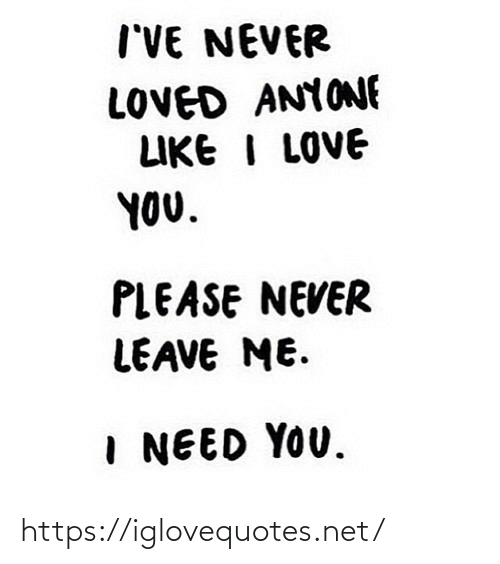 Me I: I'VE NEVER  LOVED ANYONE  LIKE I LOVE  YOU.  PLEASE NEVER  LEAVE ME.  I NEED YOU. https://iglovequotes.net/