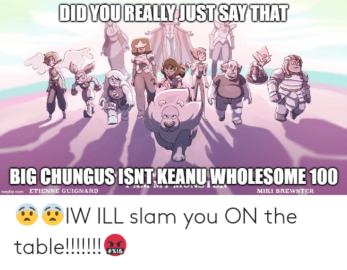 On The Table: 😨😨IW ILL slam you ON the table!!!!!!!🤬