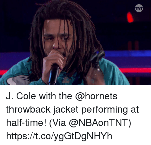 J. Cole, Memes, and Time: J. Cole with the @hornets throwback jacket performing at half-time!    (Via @NBAonTNT) https://t.co/ygGtDgNHYh