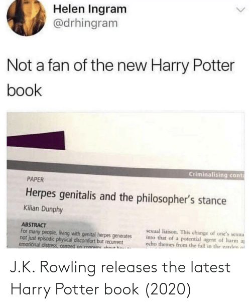J K: J.K. Rowling releases the latest Harry Potter book (2020)