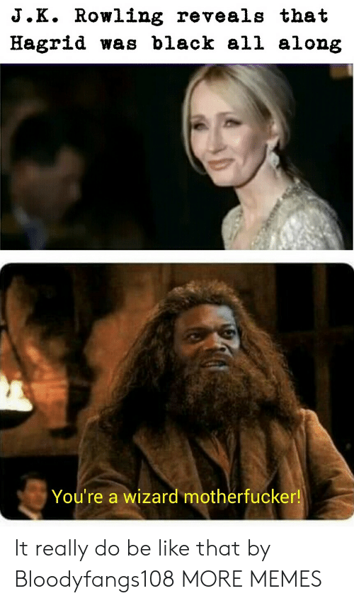Be Like, Dank, and Memes: J.K. Rowling reveals that  Hagrid was black all along  You're a wizard motherfucker! It really do be like that by Bloodyfangs108 MORE MEMES
