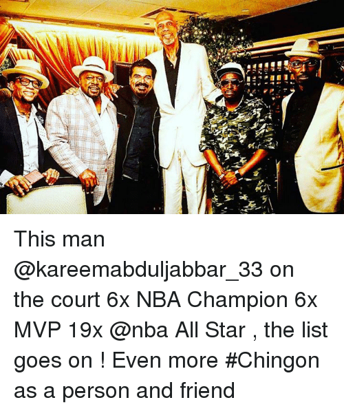 nba all stars: J1:11!!!に, l! This man @kareemabduljabbar_33 on the court 6x NBA Champion 6x MVP 19x @nba All Star , the list goes on ! Even more #Chingon as a person and friend
