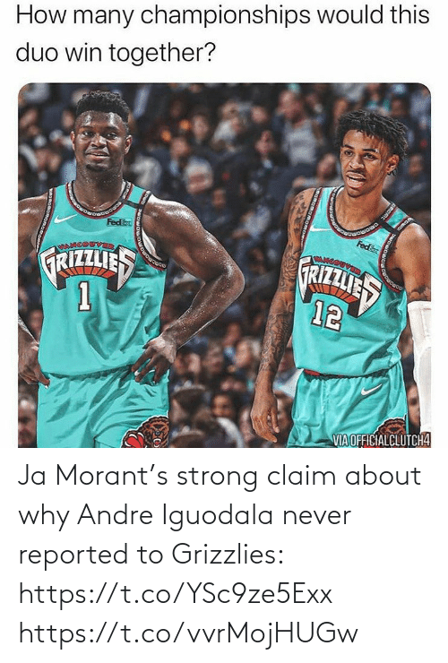 Reported: Ja Morant's strong claim about why Andre Iguodala never reported to Grizzlies: https://t.co/YSc9ze5Exx https://t.co/vvrMojHUGw