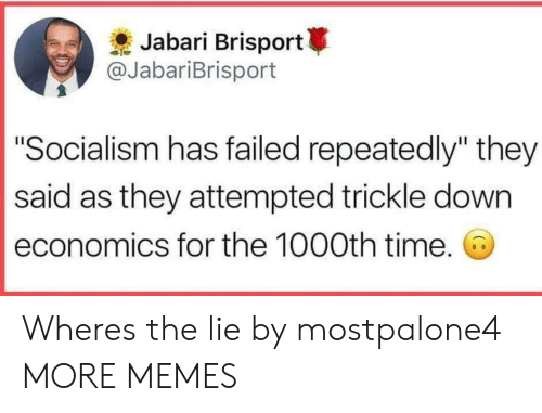 """Dank, Memes, and Target: Jabari Brisport  @JabariBrisport  """"Socialism has failed repeatedly"""" they  said as they attempted trickle down  economics for the 1000th time. Wheres the lie by mostpalone4 MORE MEMES"""