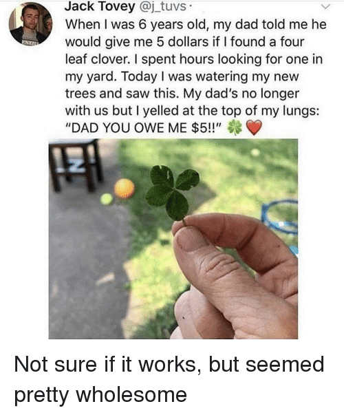 "Dad, Saw, and Today: Jack Tovey @j_tuvs  When I was 6 years old, my dad told me he  would give me 5 dollars if I found a four  leaf clover. I spent hours looking for one in  my yard. Today I was watering my new  trees and saw this. My dad's no longer  with us but I yelled at the top of my lungs:  ""DAD YOU OWE ME $5!!"" Not sure if it works, but seemed pretty wholesome"