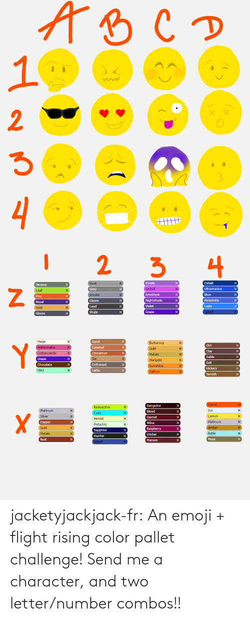 Flight: jacketyjackjack-fr:  An emoji + flight rising color pallet challenge! Send me a character, and two letter/number combos!!