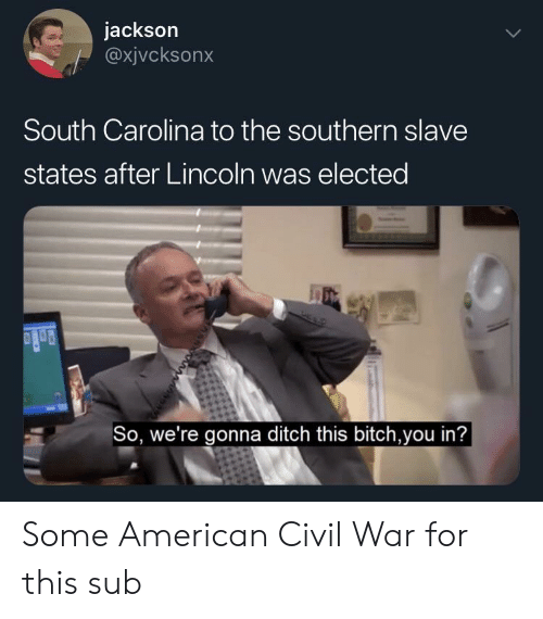 Americanization: jackson  @xjvcksonx  South Carolina to the southern slave  states after Lincoln was elected  So, we're gonna ditch this bitch,you in'? Some American Civil War for this sub
