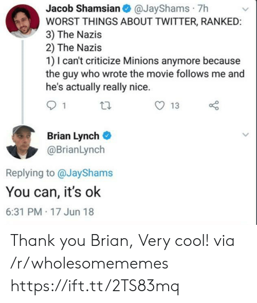 Criticize: Jacob Shamsian@JayShams 7h  WORST THINGS ABOUT TWITTER, RANKED:  3) The Nazis  2) The Nazis  1) I can't criticize Minions anymore because  the guy who wrote the movie follows me and  he's actually really nice.  13  Brian Lynch  @BrianLynch  Replying to @JayShams  You can, it's ok  6:31 PM 17 Jun 18 Thank you Brian, Very cool! via /r/wholesomememes https://ift.tt/2TS83mq